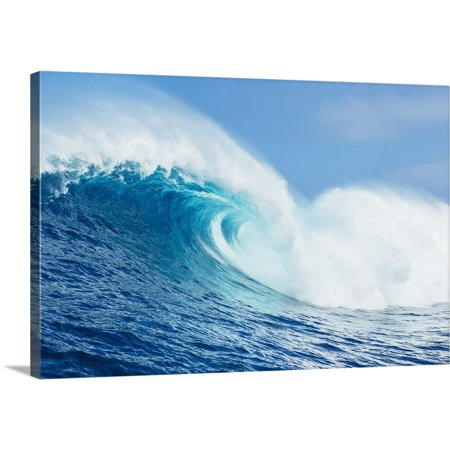 Great BIG Canvas | MakenaStock Media Premium Thick-Wrap Canvas entitled A large ocean wave breaks at the big wave spot know as Jaws or