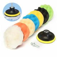 Drillpro 8Pcs 5 Inch Woolen Polishing/Buffing Pad Kit For Car Polisher