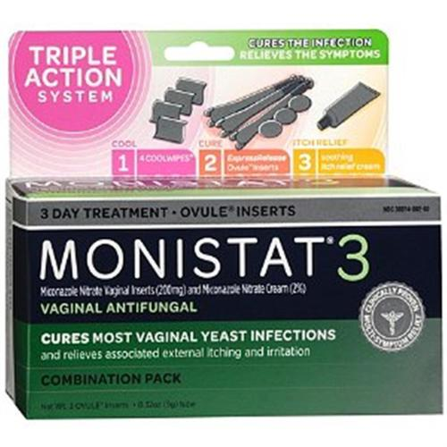 MONISTAT 3 Triple Action System, Combination Pack, 3-day Treatment (Pack of 6)