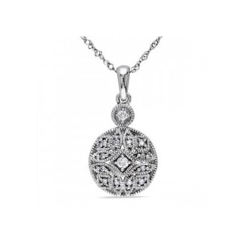 Allurez Ladies Vintage Style, Pave Set Diamond Pendant Necklace & 17 inch Chain in 14k White Gold 0.12ct by Generic