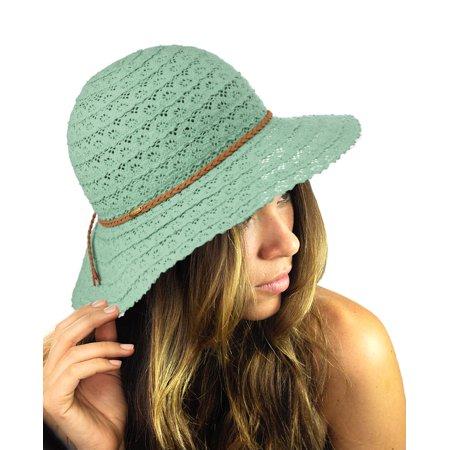 NYFASHION101 Open Knit Brown Braided Trim Vented Cotton Beach Sun Hat - mint