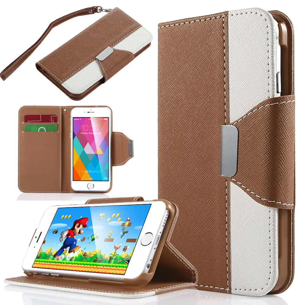 ULAK Dual Color Wallet Case with Card Slots for Apple iPhone 6S 6 4.7 Inch(Brown)