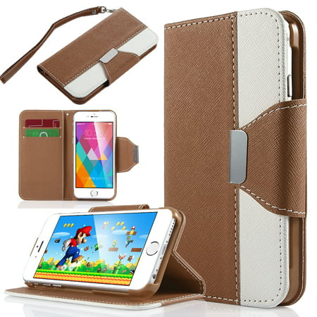 Ulak Dual Color Wallet Case With Card Slots For Apple Iphone 6S 6 4 7 Inch Brown