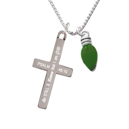 Silvertone Christmas Lights - Green Resin - Be Still and Know - Cross Necklace ()