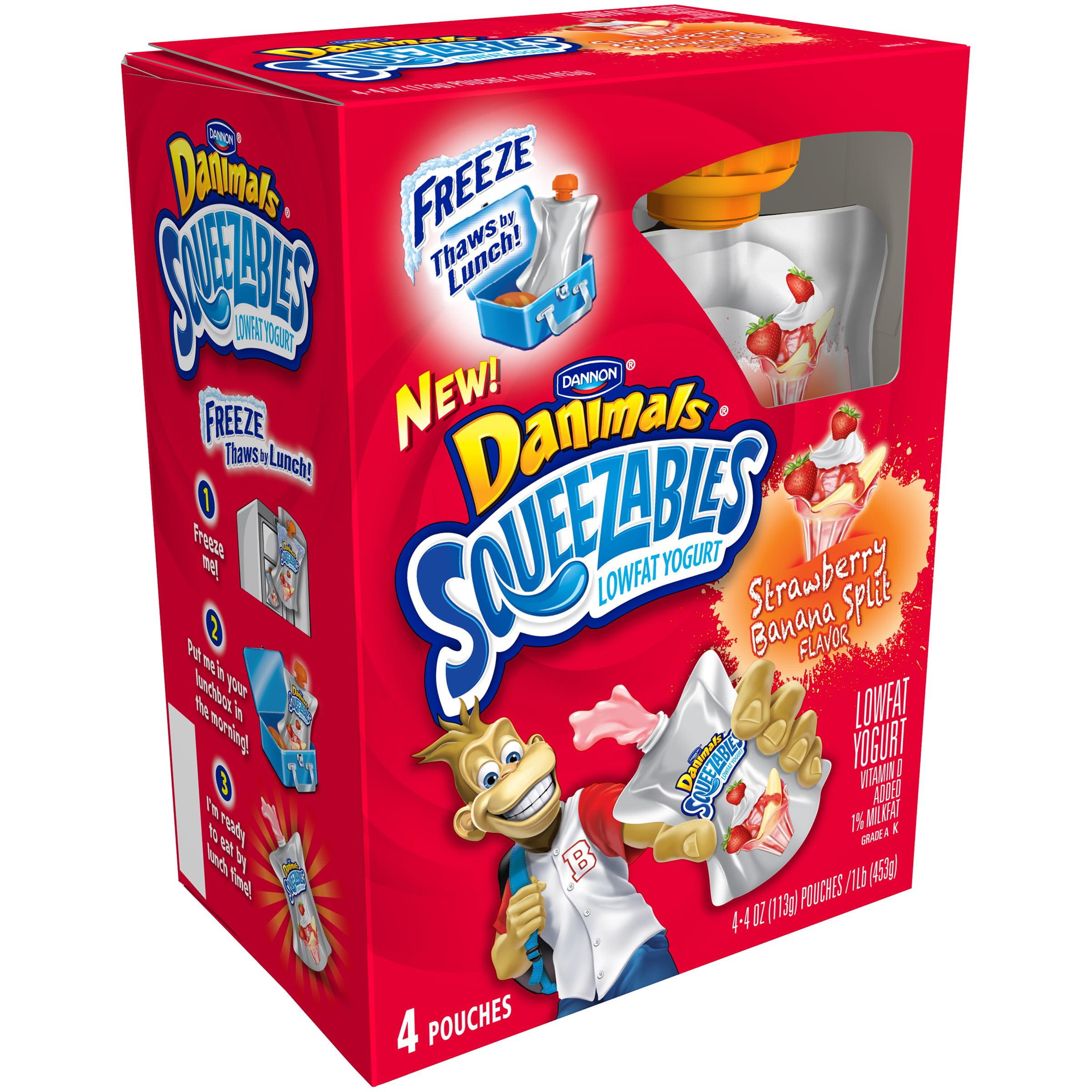Dannon® Danimals® Lowfat Yogurt Pouches Swingin' Strawberry-Banana® 4oz 4 pack