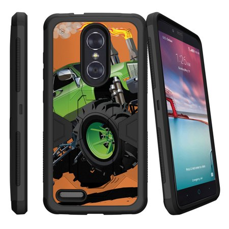 ZTE Zmax Pro Z981 Dual Layer Shock Resistant MAX DEFENSE Heavy Duty Case with Built In Kickstand - Monster