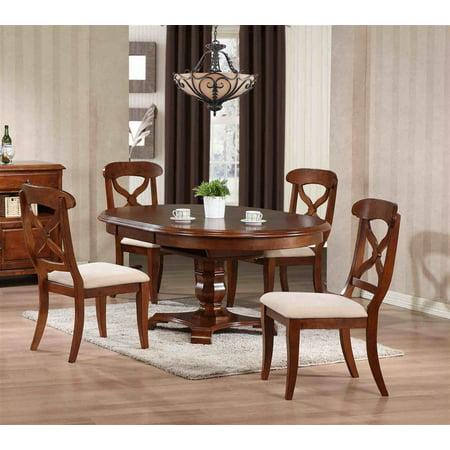 5 pc Andrews Pedestal Dining Set in Chestnut