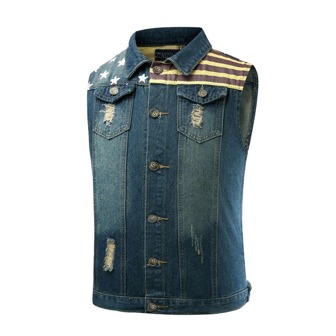 Denim vest mens fashion 92