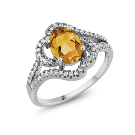 1.92 Ct Oval Yellow Citrine 925 Sterling Silver Gemstone Birthstone Ring
