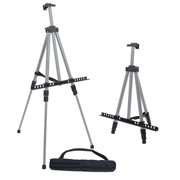 """U.S. Art Supply 66"""" Silver Aluminum Tripod Artist Field and Display Easel Stand - Adjustable, Holds 32"""" Canvas, Tabletop"""