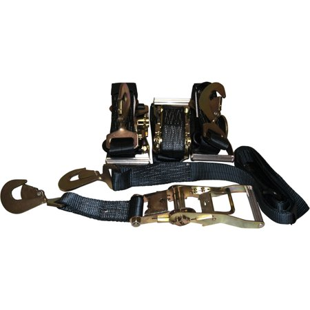 4 Black Axle Straps Car Carrier Tie Down Straps with Ratchets Tow Straps ()