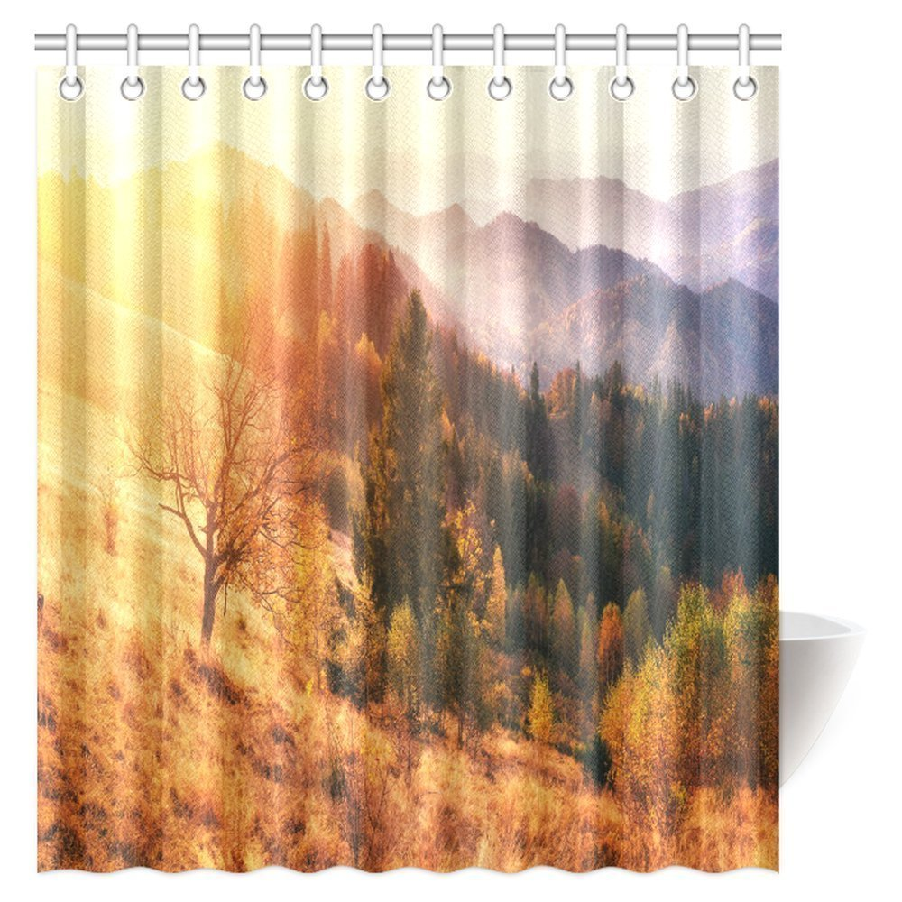 GCKG Fantastic Sunset Shower Curtain Mountain Range In The Carpathian Mountains Autumn Season Fabric Bathroom 66x72 Inches