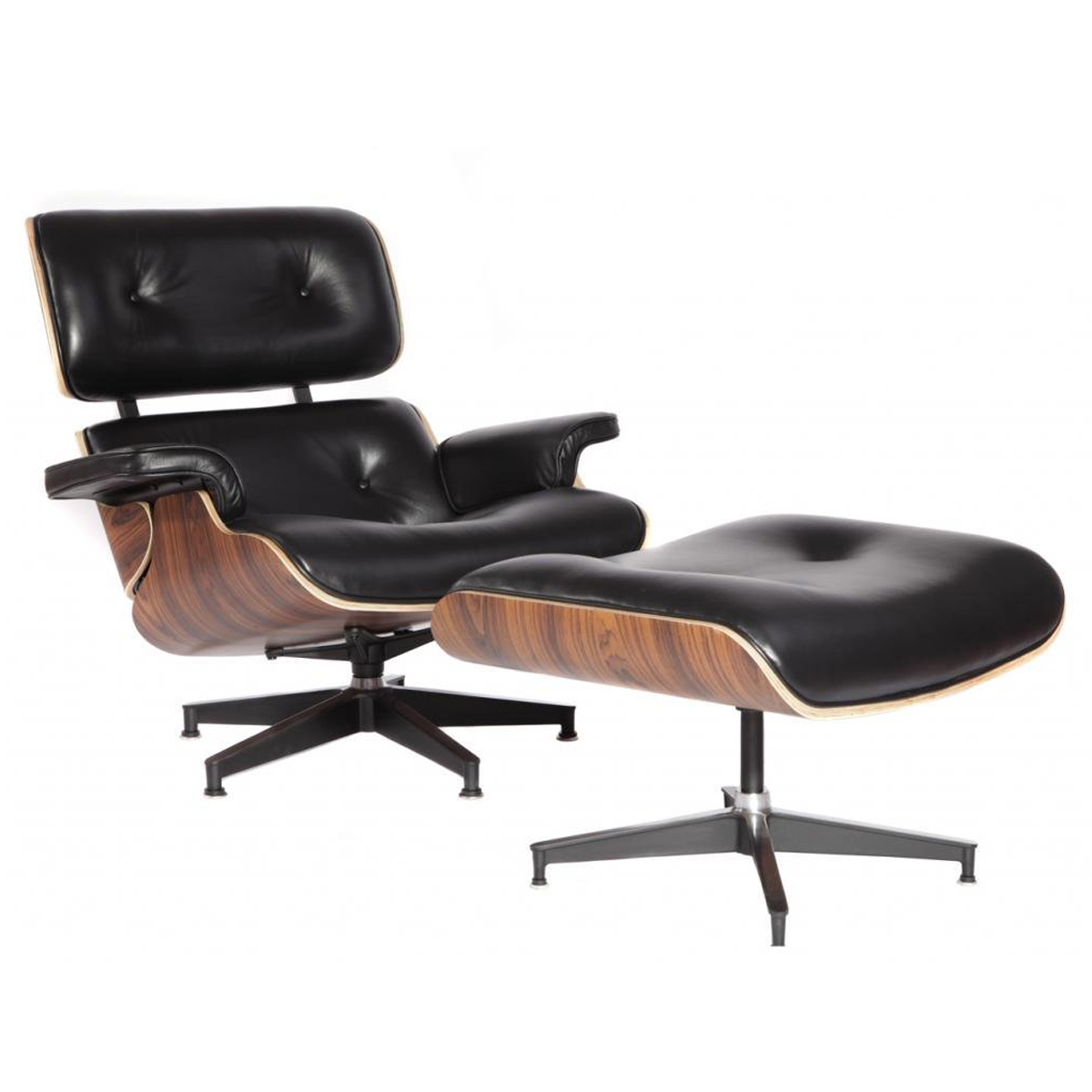MCM Eames Style Lounge Chair With Ottoman, Black