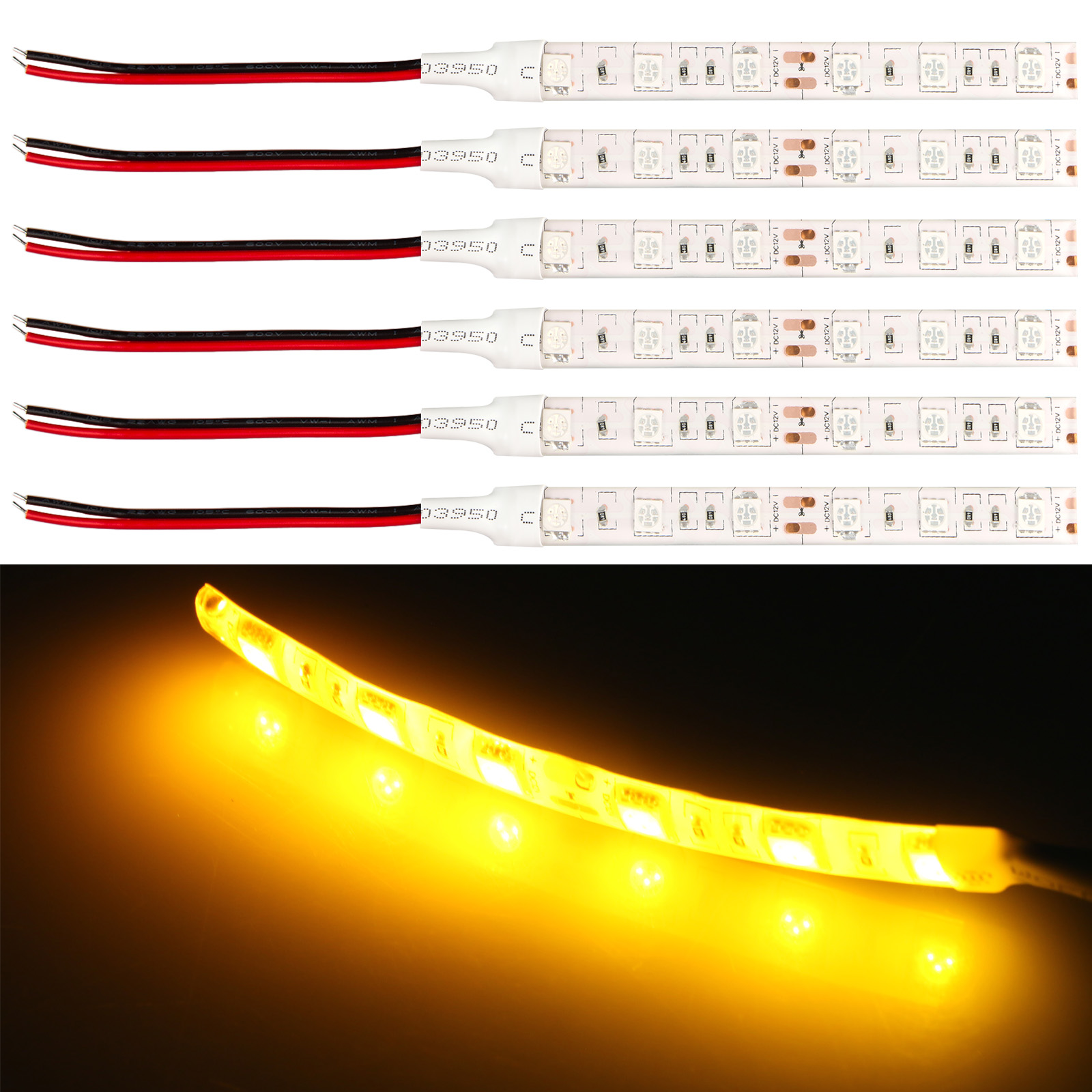 6 Pack Super-bright illumination LED Light 5050 SMD Top LED 10cm Flexible Strip Decorate Lamp Waterproof for Car home ceiling bathroom kitchen lights furniture shelves cupboards