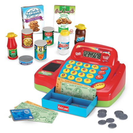 kidzlane interactive electronic cash register toy for kids 20 realistic pieces pretend. Black Bedroom Furniture Sets. Home Design Ideas