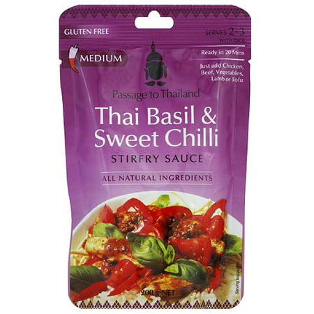 Passage to India Thai Basil & Sweet Chili Chicken Stir-Fry Sauce, 7 oz, (Pack of