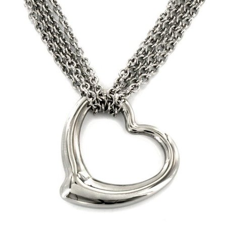 West Coast Jewelry ELYA High-polish Stainless Steel Heart Pendant and Rolo Chain Necklace