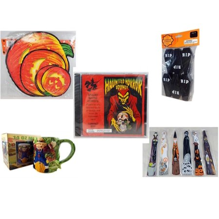 Halloween Fun Gift Bundle [5 Piece] - Classic Pumpkin Cutouts Set of 9 - Tombstone Containers Party Favors 6 Count - Haunted Horror Sounds CD - Earthenware Scarecrow & Harvest Design Mug 14 oz. -  W - Halloween Horror Sounds Effects