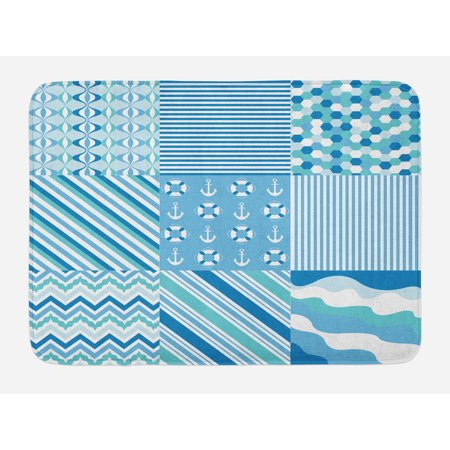 Baby Shower Nautical Dots Stripes Bath Mat, Zig Zag Chevron Wavy Anchor Life Belt Geometric, Non-Slip Plush Mat Bathroom Kitchen Laundry Room Decor, 29.5 X 17.5 Inches, Teal Turquoise Blue, Ambesonne ()