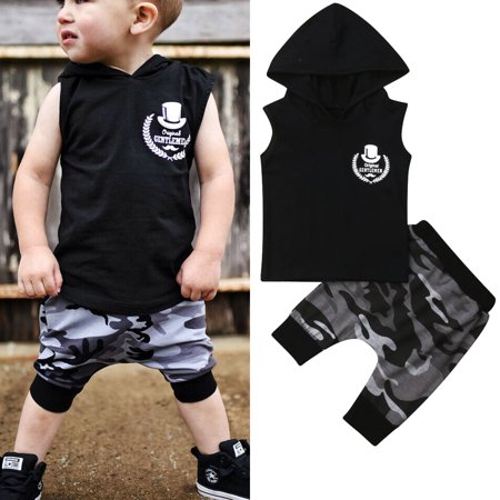 Toddler Baby Kids Boy Summer Clothes Sleeveless Hoodie Tops Camo Harem Pants 2PCS Outfits sET