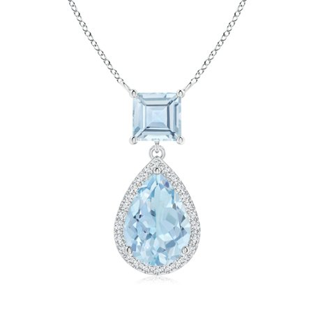 Mother's Day Jewelry - Square and Pear Aquamarine Pendant with Diamond Halo in 14K White Gold (10x7mm Aquamarine) - SP1080AQD-WG-AA-10x7 Diamond 14k Square Pendant