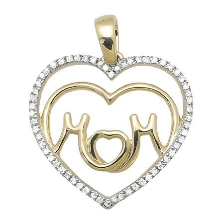 Ladies Yellow Gold Tilted Double Heart MOM Diamond Fashion Pendant (0.10ct)