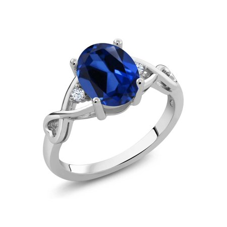 2.39 Ct Oval Blue Simulated Sapphire 925 Sterling Silver Ring - image 4 de 4
