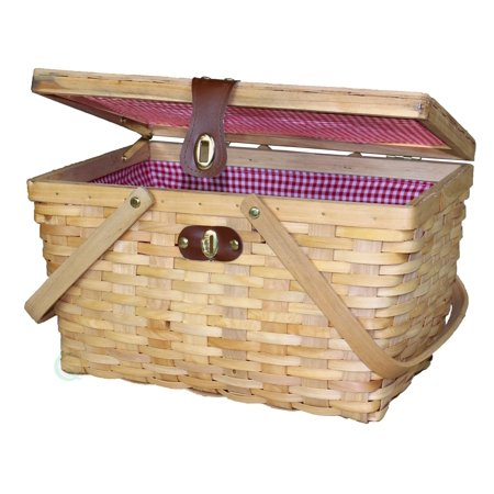 Majestic Picnic Basket (Large Gingham Lined Wood Picnic Basket )