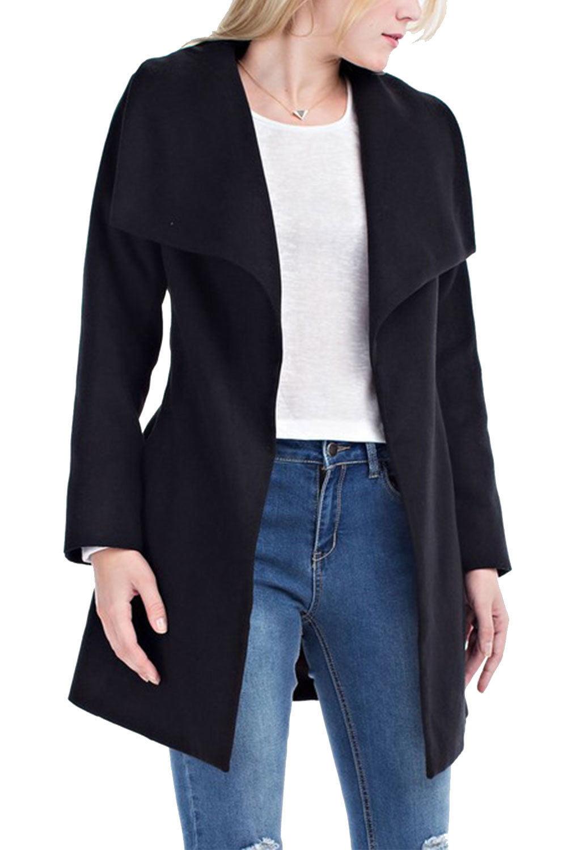 Womens Casual Wool Tie Slim Short Outwear Trench Coat HDJ5896A by Genx