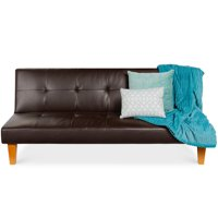 Best Choice Products Convertible Lounge Sofa Bed w/ Adjustable Back, Wood Frame, Faux Leather, Tufted Design - Brown