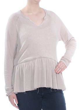 WILLIAM RAST Womens Beige Ruffled Houndstooth Long Sleeve V Neck Top Plus  Size: XL