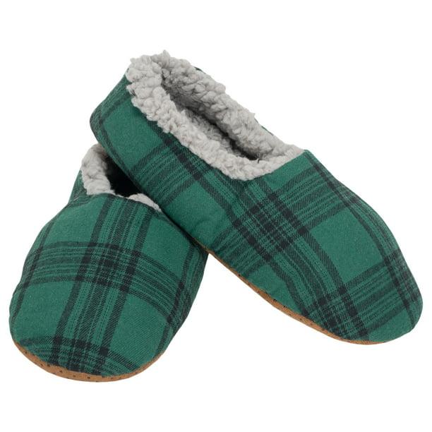 Green Plaid Mens Plush Lined Cozy Non
