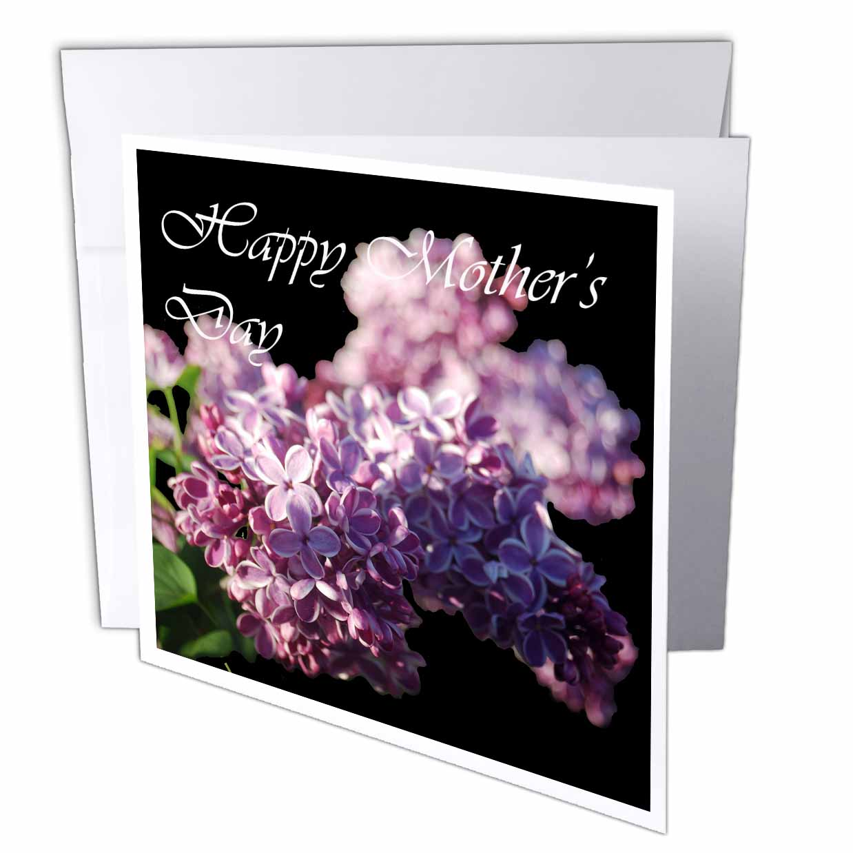 3dRose Lavender Lilacs on Black Background Photograph Happy Mothers Day, Greeting Cards, 6 x 6 inches, set of 6