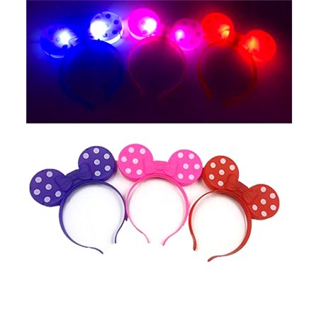 12 Minnie Mouse Bows Light Up Headbands Mickey Mouse Party Rave Flashing Favors Recuerdos