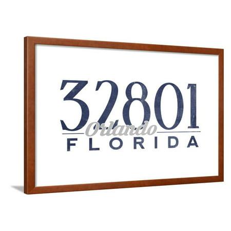 Orlando, Florida - 32801 Zip Code (Blue) Framed Print Wall Art By Lantern