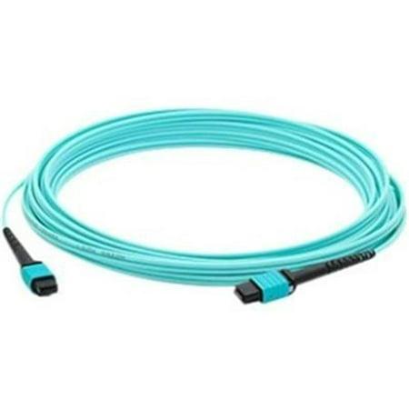 Addon 1m Mpo (male) To Mpo (male) 12-strand Aqua Om3 Straight Fiber Ofnr (riser-rated) Patch Cable  - image 1 of 1
