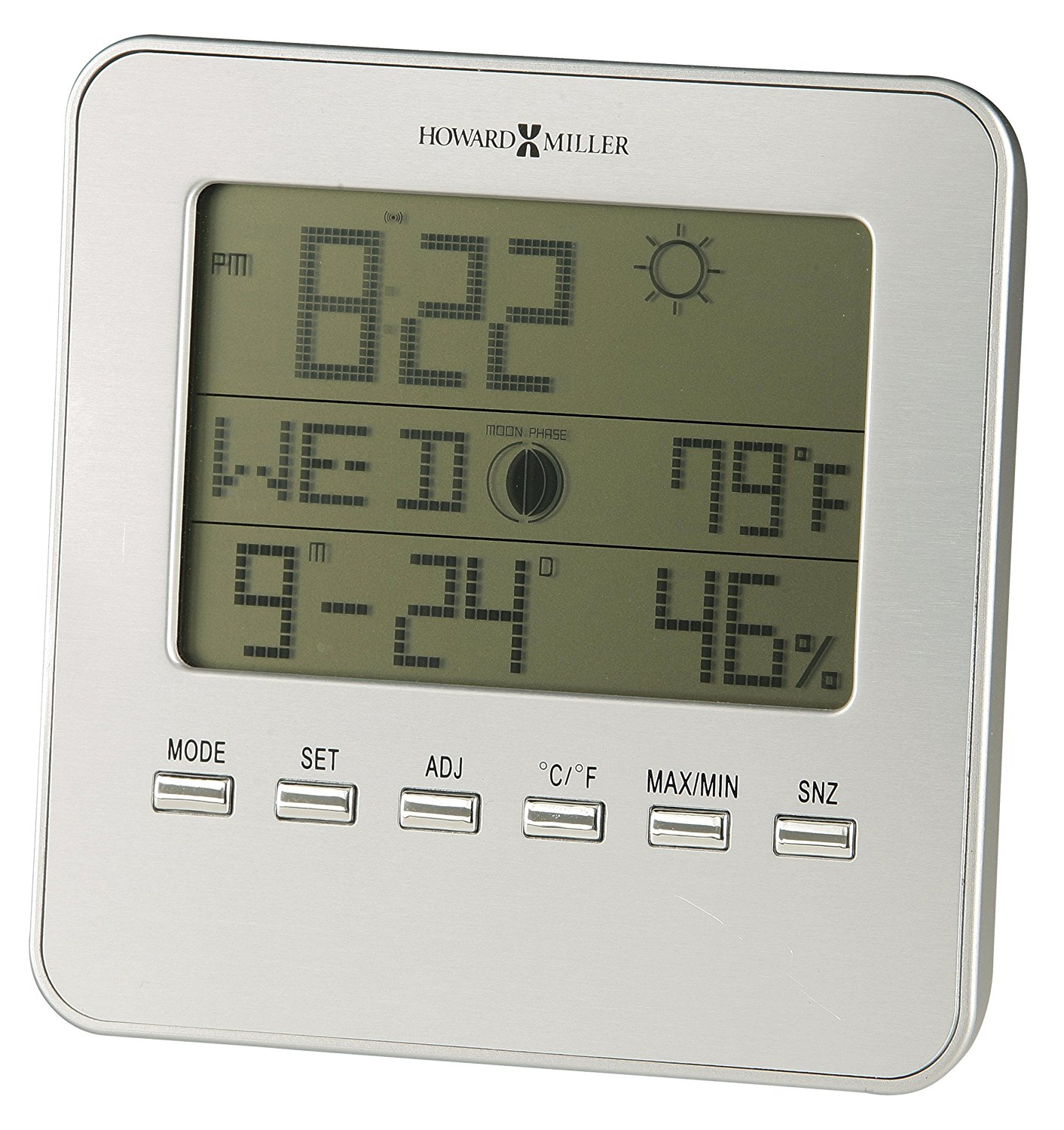 645-693 Weather View Alarm Clock by, Displays indoor temperature, relative humidity, calendar, moon phase and time in... by
