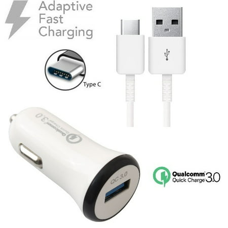 For Samsung Galaxy Note9 / Note8 Fast Car Charger qc3+USB-C Charging Power Cable White - image 1 of 9