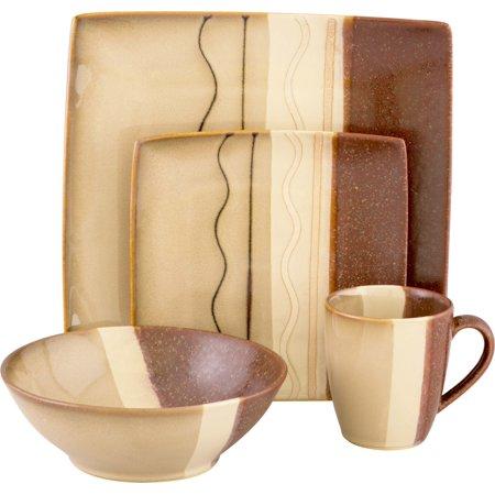 (Sango Zanzibar Brown 16 Piece Set, Including 4 Dinner Plates, 4 Salad Plates, 4 Soup Bowls, and 4 Mugs)