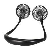 Neck Fan Portable USB Rechargeable LED Fan Design Personal Fan Wearable Cooler Fan with Dual Wind Head for Traveling Outdoor Office