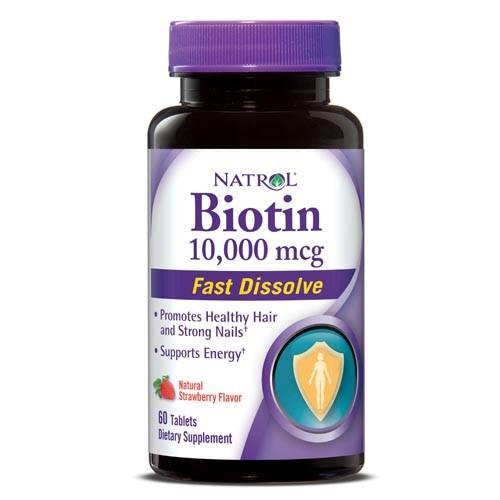 Natrol Biotin 10000 mcg Tablets, Strawberry, 60 Ct