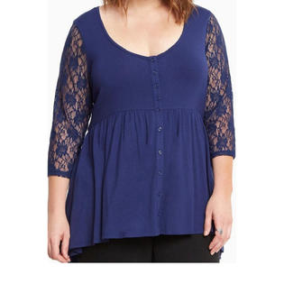 Women Lace Sleeves Plus size Shirt and Blouse Navy