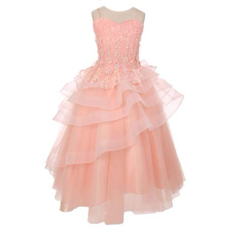 467de2196 Junior - Chic Baby Big Girls Blush Pink Lace Tiered Pageant ...