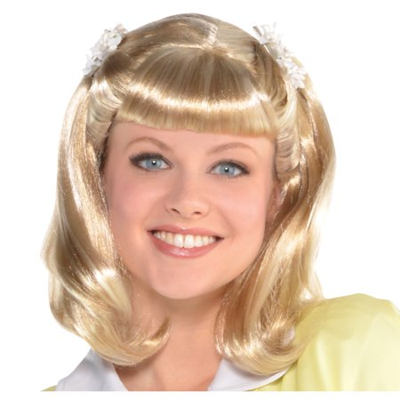 Halloween City Sandy (Grease Sandy Olsson Summer Nights Wig for Adults, One Size, With White)