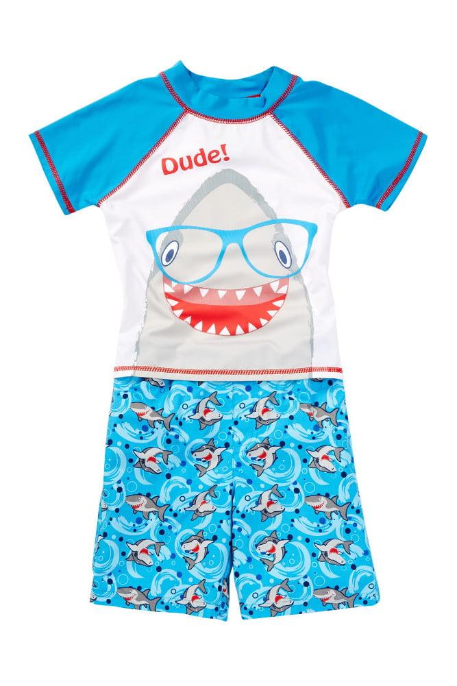 Baby Buns Little Boys Shark Rash Guard & Swim Trunk Set 4