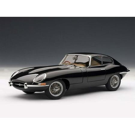 Jaguar E Type Coupe Series 1 3.8 Black with Metal Wire Spoke Wheels 1/18 Diecast Model Car by Autoart 18 Autoart Diecast Model