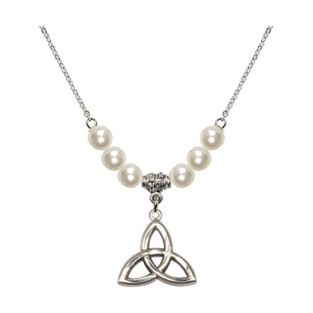 18-Inch Rhodium Plated Necklace with 6mm Faux-Pearl Beads and Trinity Irish Knot Charm Plated Trinity Knot