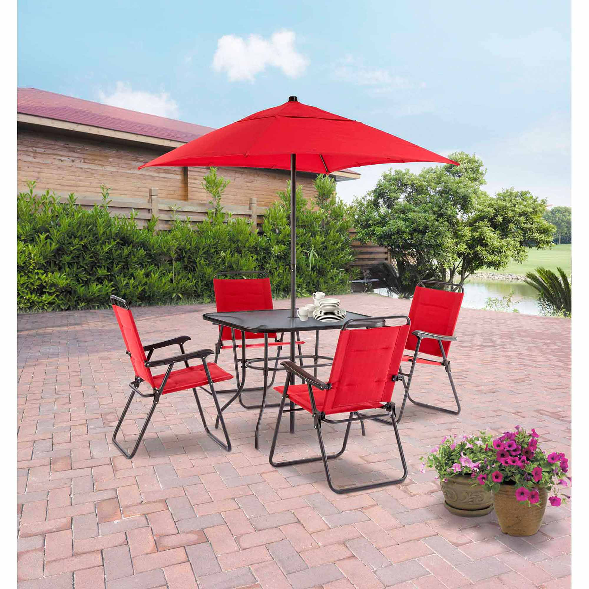 walmart outdoor patio furniture Mainstays Searcy Lane 6 Piece Padded Folding Patio Dining Set, Red  walmart outdoor patio furniture