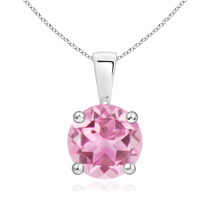 Prong Set Round Pink Tourmaline Solitaire Pendant in Silver (8mm Pink Tourmaline) SP0108PT-SL-AA-8 Angara Necklace... by Angara.com