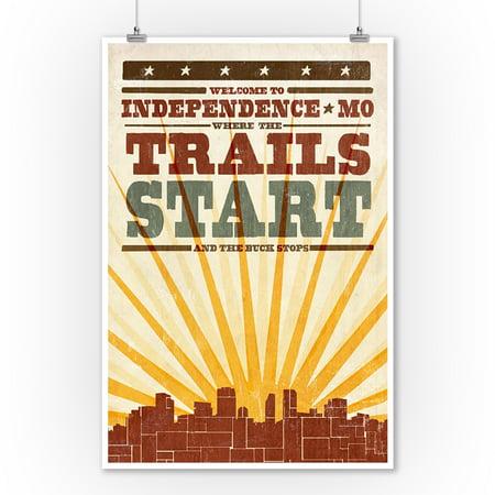 Independence, Missouri - Skyline & Sunburst Screenprint Style - Lantern Press Artwork (9x12 Art Print, Wall Decor Travel (Independence Center Missouri)